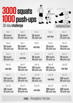 3000 squats and 1000 push ups 30-day challenge