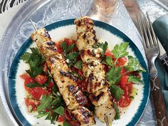 Here's a six-ingredient dish that delivers big taste with minimal fuss. If you're pressed for time, cut the marinating back to 15 minutes–lemon flavor will still come through. Serve the salad on a bed of bulgur for a twist on tabbouleh and a fiber boost. View Recipe: Lemony Chicken Kebabs with Tomato-Parsley Salad