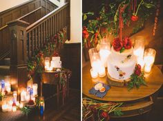 Red staircase decor