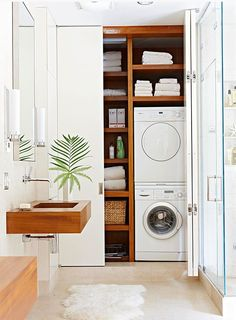 An efficient small laundry within a bathroom. So clean and minimal. For more laundry room ideas see Saffronia's site. via dustjacket.blogspot Small Laundry Area, Small Laundry Closet, Small Closet Space, Laundry Dryer, Laundry Room Storage, Doing Laundry, Small Closets, Small Spaces, Laundy Room