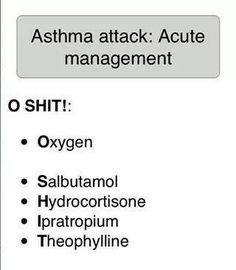 "Asthma Attack: Acute Management -- maybe slightly ""vulgar"" but it's a good acronym to remember!"