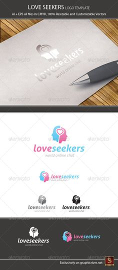 Love Seekers Logo Template — Vector EPS #pink #love chat • Available here → https://graphicriver.net/item/love-seekers-logo-template/1080491?ref=pxcr