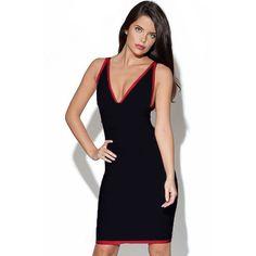 Black Above Knee Plunging V Neck Sleeveless Bandage Dress LAVELIQ SALE