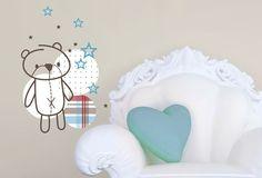FUNKY BEAR Twiggy, Kids Room, Decorative Plates, Nursery, Bear, Vinyls, Color, Home Decor, Room Kids