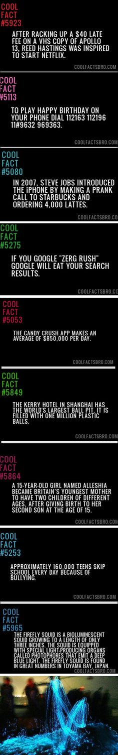 Some more random and cool facts.
