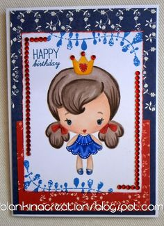 Royal cutie in red white and blue Loves Rubberstamps challenge by DT Blankina