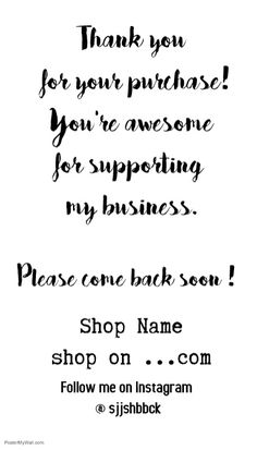 thanks for shopping. Design created with PosterMyWall Small Business Quotes, Small Business Cards, Thank You Quotes For Support, Thank You Customers, Thank You For Order, Business Thank You Notes, Online Shopping Quotes, Thank You Card Design, Appreciation Quotes