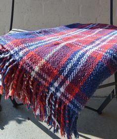Vintage Tartan Plaid Wool (?) Fringed Blanket Stadium Throw or Table Cloth Red White Blue Golden Yellow