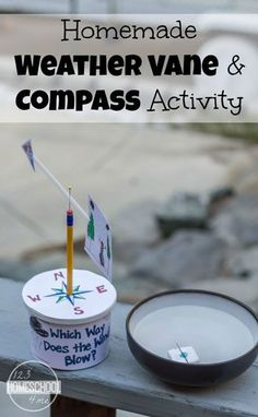 Homemade Weather Vane Science Project and DIY Compass will help kids have fun while learning about weather. This is a great science experiment for kindergarten, first grade, second grade, grade, 4 Weather Experiments, Weather Science, Science Experiments Kids, Science Lessons, Teaching Science, Science For Kids, Science Activities, Science Education, Science For Kindergarten