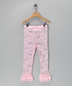 Light Pink Ruffle Lace Leggings - Infant & Toddler by Lovely Lace Leggings #zulily #zulilyfinds