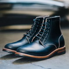 """Oak Street Bootmakers on Instagram: """"Black Chromexcel is so much more than """"black""""—there are hints of both the natural hide beneath and any hues cast by nearby light. For a…"""" Oak Street, Goodyear Welt, Mans World, Leather Heels, Trench, Black Boots, Combat Boots, Mens Fashion, Usa"""