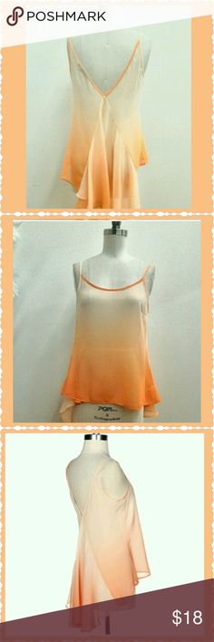 """Sale-OMBRE TANK Apricot ombre tank. Rounded neck with V design in back. Beautiful chiffon layers. No stretch! Pair with white pants or jeans and a bralette underneath.  Measured flat: Small:  17"""" (fits me as a 34D) Medium: 18"""" Large: 19"""" boutique Tops Tank Tops"""