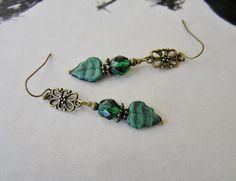 Green Earrings, Sage Green, Drop Earrings, Gold Earrings, Antique Gold Earrings, Czech Beads, Leaf Earrings, Women's Earrings, Green Jewelry by SmockandStone on Etsy