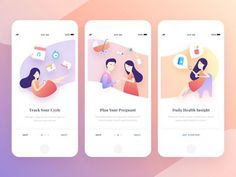 Onboarding screens for period tracker. Swipe for illustration details Ui Design Mobile, App Ui Design, Interface Design, Design Web, Flat Design, User Interface, Graphic Design, Web Mobile, Mobile App Ui