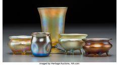 Art Glass:Tiffany , Five Tiffany Studios Gold Favrile Glass Smalls. Circa 1902-1910.Engraved L.C.T., R 258. Ht. 3-1/2 in....