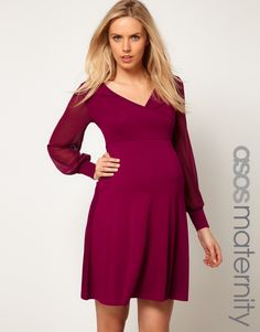 ASOS Maternity Exclusive Dress With Chiffon Sleeve save -50% today