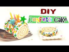 DIY CONFETTI ROLL CAKE : How To Make A Miniature Dollhouse Cake Polymer Clay Tutorial - YouTube