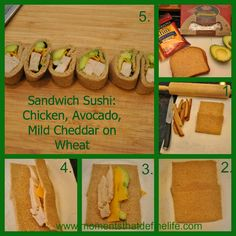 Chicken Avocado Cheddar on wheat sandwich sushi