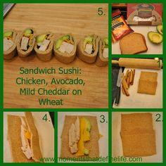 Easy School Lunch - Chicken, Avocado, Cheddar on wheat  - sandwich sushi