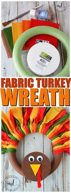 Turkey Wreath : How to make a Fabric Turkey Wreath with Slip Knots