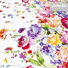 jubelis® Wachstuch aus Italien mit schöner Blumenbordüre bunt