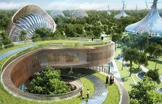 Design for Flavours Orchard by architect Vincent Callebaut, a high-tech eco-friendly city in China that centers on community gardening
