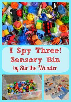 I Spy Three! Sensory Bin | Stir the Wonder #kbn #handsonplay #sensory
