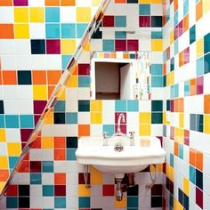 patchwork tiled and colorfully bathroom interior