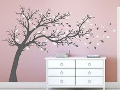 Großer Baum zweifarbig Big tree wall sticker in gray and white on colored wall Nursery Wall Decals, Vinyl Wall Decals, Wall Sticker, Baby Boy Rooms, Little Girl Rooms, Ideas Hogar, Tree Wall, Cool Walls, Wall Shelves