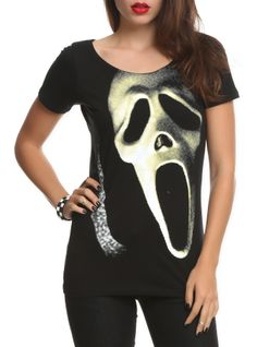 Scream Mask Slash-Back Girls Top Dress Down Day, T Shirts For Women, Clothes For Women, Goth Clothes, Movie T Shirts, Fashion 101, My Outfit, My Style, Scene Style