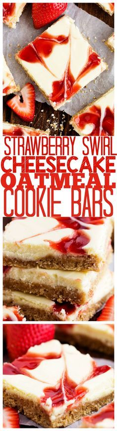 Delicious and creamy Strawberry Swirl Cheesecake baked on the most amazing and chewy oatmeal cookie crust! #quakerup