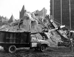 The old Kent County courts and administration building is wrecked in late 1966. The building was located where the south end of Calder Plaza and the Fifth Third Center parking lot is today. (MLive file photo)