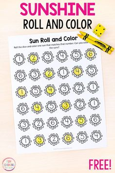 If you are looking for summer math activities, this sun roll and color activity is perfect for you! It is a fun way for kids to learn numbers and counting. Weather Activities Preschool, Counting Activities, Preschool Lessons, Preschool Math, Color Activities, Maths, Summer Activities For Preschoolers, Summer Preschool Themes, Preschool Education
