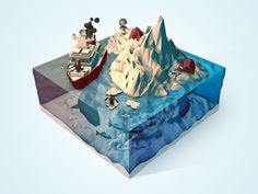 Polar Landscape [Low Poly] by Fabricio Rosa Marques on Dribbble Cube World, Isometric Map, Low Poly Games, Polygon Art, Modelos 3d, Low Poly 3d, Biomes, Environment Design, Environmental Art
