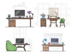 4 Workspace Illustrations - Free sketch resource for download #sketchhint #sketch #resource #app #freebie #free