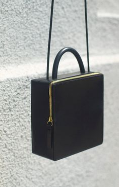 Lovely structured black leather bag - Building Block SS14
