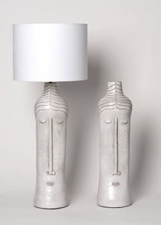 Pair of ceramic base lamps with stylized faces in beige glazed enamel. Unique pieces signed by the French artist Dalo, Note: Our clients will handle to install the electrical system by their local and professional electrician (refer to Home Decor Accessories, Decorative Accessories, Ceramic Oil Burner, Slab Ceramics, Accent Wall Designs, Cement Art, Ceramic Workshop, Ceramic Light, Handmade Lamps