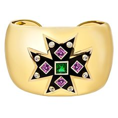 Verdura Maltese Cross Pink & Chrome Tourmaline Cuff Bracelet / Inspired by the original Maltese Cross Cuffs that Verdura designed for Coco Chanel, these bracelets are Fulco di Verdura's most iconic creations /50,500