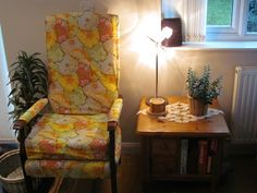 My armchair which I re-upholsteted with Kaffe Fasset fabric