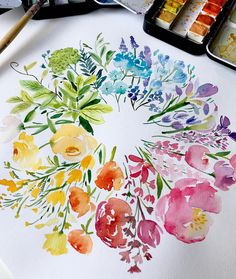 Enya s art of patisserie on Happy Friday with the colourful flowers wheel Enya s art of pa Art Floral, Floral Watercolor, Watercolor Trees, Watercolor Portraits, Watercolor Landscape, Watercolor Artists, Watercolor Projects, Easy Watercolor, Watercolor Artwork
