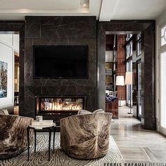 Masculine living room with a fireplace. Architecture by Ferris Rafauli Luxury Interior Design, Modern Interior, Interior Architecture, Interior Decorating, Decorating Ideas, Decorating Websites, Design Hotel Paris, Marble Fireplaces, Stone Fireplaces