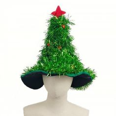 5cc6a138d49cb Christmas Hats Red Silver Green Tree With Star For Adult And Kids - DEEP  GREEN 50
