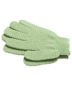 Lather nubby nylon Earth Therapeutics Exfoliating Hydro Gloves with soap and soften hard-to-reach areas (such as the skin in-between toes).