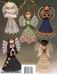 christmas ornaments crafts: mexican angel - crafts ideas - crafts for kids Thread Crochet, Crochet Crafts, Crochet Dolls, Crochet Projects, Crochet Stitches, Christmas Ornament Crafts, Christmas Angels, Holiday Crafts, Ornament Tree
