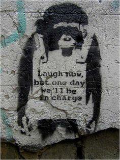 Banksy Monkey Laugh Now Graffiti