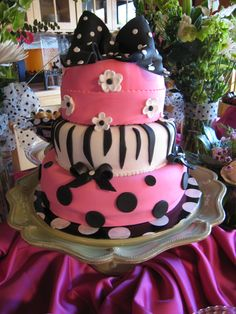 pink zebra cake .. Take off bows and add sparkle ( candy diamonds, rings, shoes)