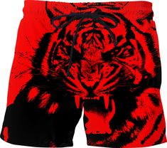 0df72dc159 Cool men swim shorts in red and black. Roaring red and black tiger, high  resolution vector
