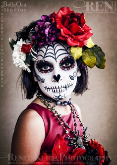 Sugar Skull Costume Makeup | Little Girl Sugar Skull ~ Photography and Makeup by Renee Keith