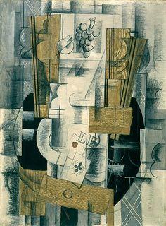 Georges Braque, Composition à l'as de trèfleu. Huile rehaussée au crayon et au fusain sur toile, 81 × 60 cm.
