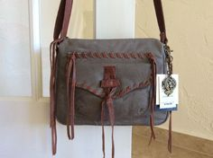 Lucky Brand Chimayo Leather Crossbody Smoke/Brandy LB2023 NWT Retail $158 #LuckyBrand #MessengerCrossBody